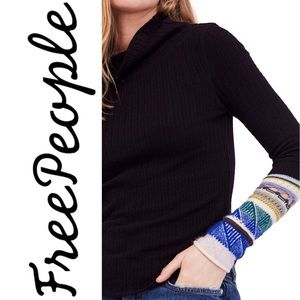 Free People Mixed-Up Cuff Turtleneck Sweater SZ S